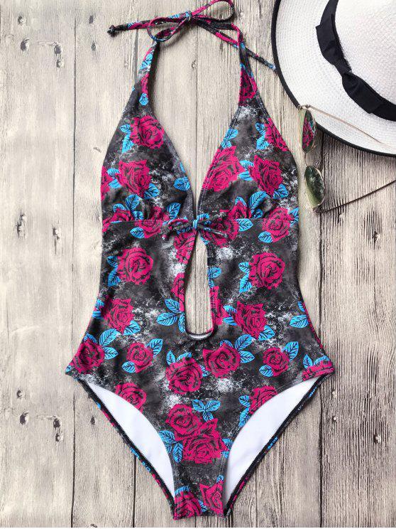 Open Back Floral Plunge traje de baño de una pieza - Negro S