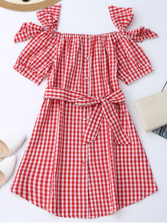 chic Off Shoulder Bowknot Plaid Dress With Belt - RED S