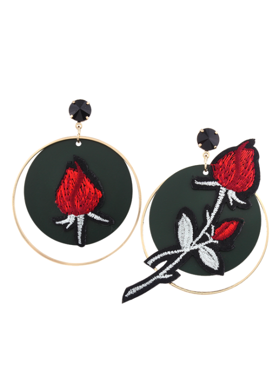shops Embroidery Rose Flower Circle Drop Earrings - RED