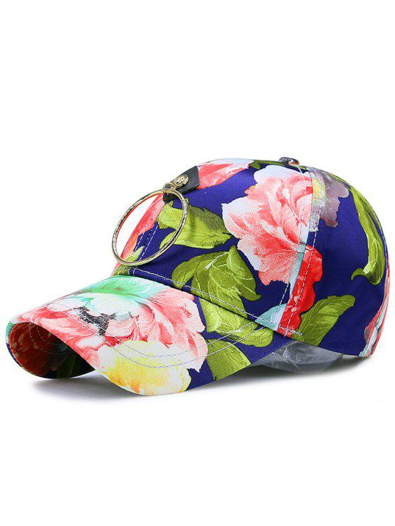 Wash Painting Fleurs imprimé Metal Circle Hat - Azuré