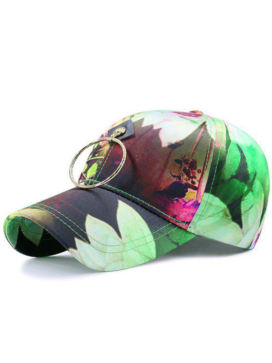 Chapeau de baseball à imprimé de fleurs de jet d'encre à bille numérique avec cercles métalliques - Vert