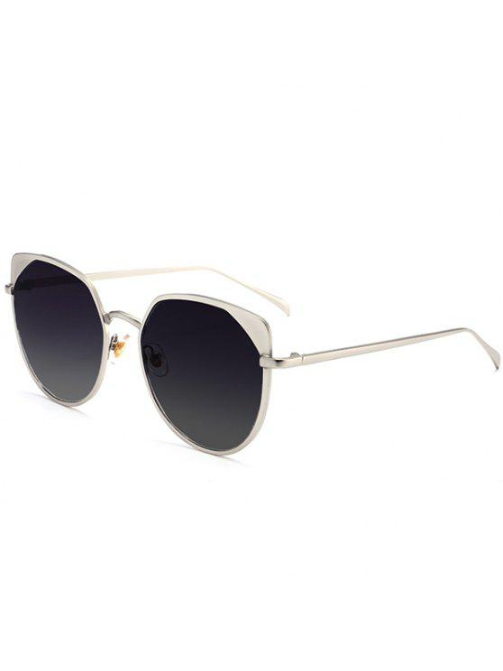 Metal Eye Eye Protection UV Lunettes de soleil - Argent Cadre + Objectifs Brun Foncé