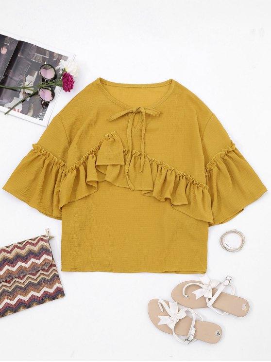 Blusa de mangas con mangas en forma de ojo de cerradura - Amarillo Única Talla