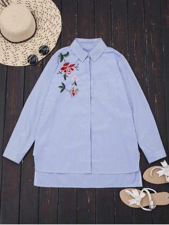 Camisa bordada alta floral de las rayas - Raya S