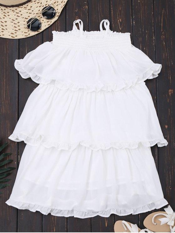 الكشكشة الطبقات الشيفون اللباس مصغرة - أبيض S