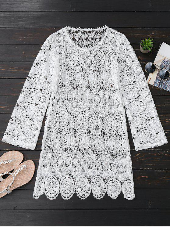 latest Sheer Lace Long Sleeve Beach Dress - WHITE XL
