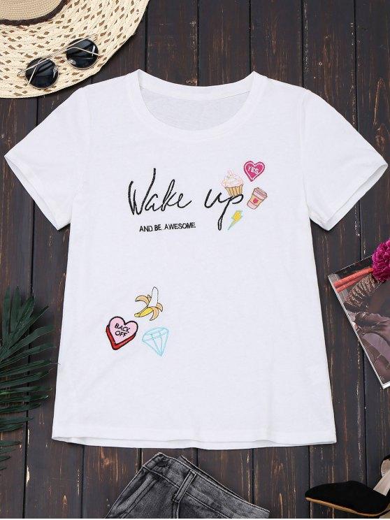 Camiseta linda bordada algodón - Blanco L