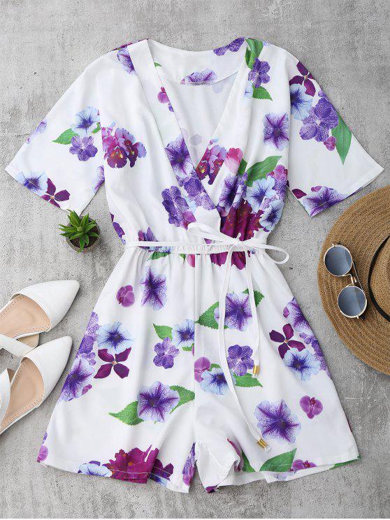 trendy Floral Surplice Romper - WHITE M