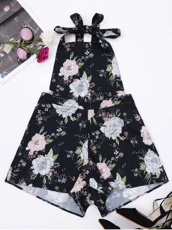 Backless Floral Pinafore Romper - Floral L
