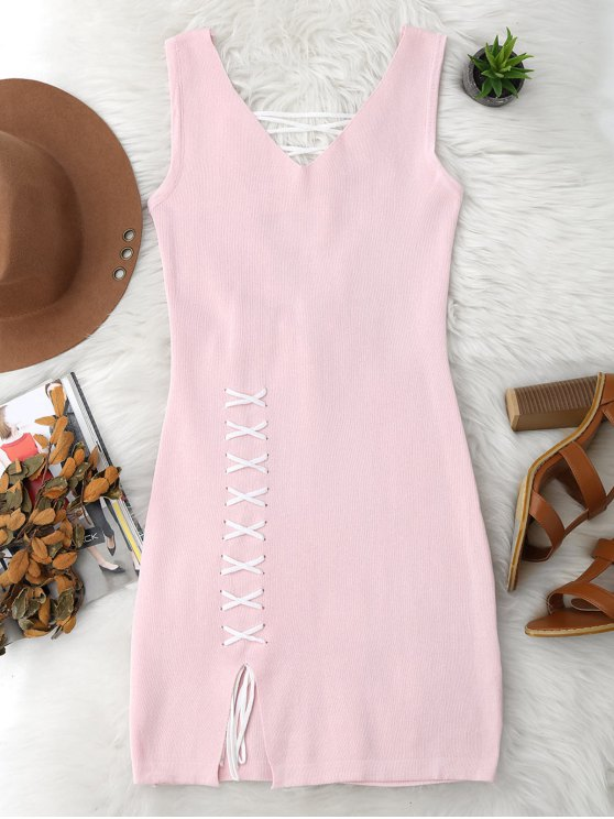 shops Lace Up Cut Hem Bodycon Knit Dress - PINK ONE SIZE
