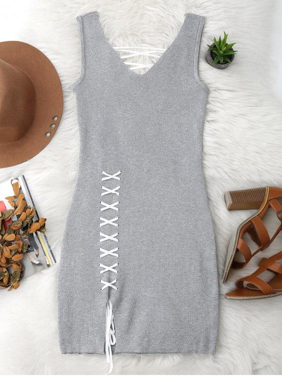 Vestido Ceñido de Tejido con Cordón Combinado en Faldas - Gris Única Talla