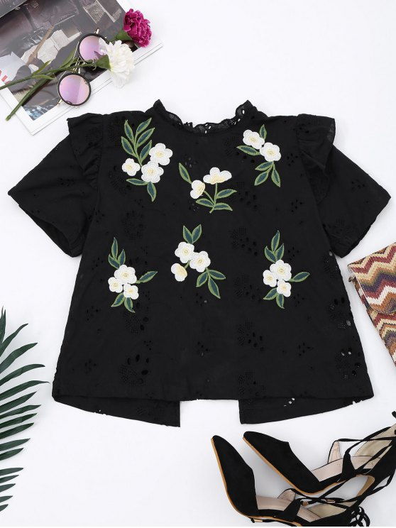 sale Embroidered Back Bowknot Cut Out Top - BLACK M