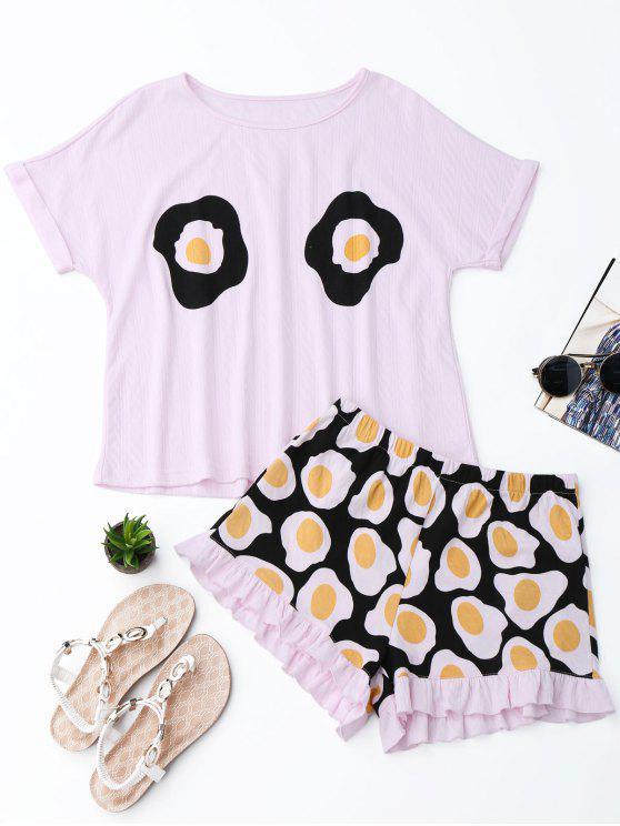 Camiseta de impresión de huevo frito con pantalones cortos - Rosa M