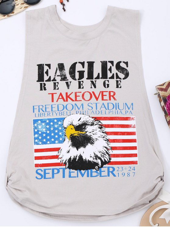 shops Knotted American Flag Print Tank Top - GRAY S