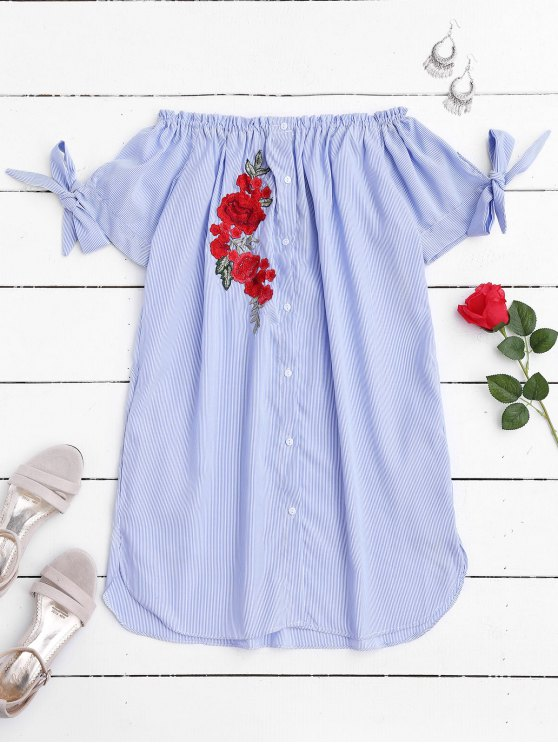 womens Floral Patched Off Shoulder Casual Dress - STRIPE M