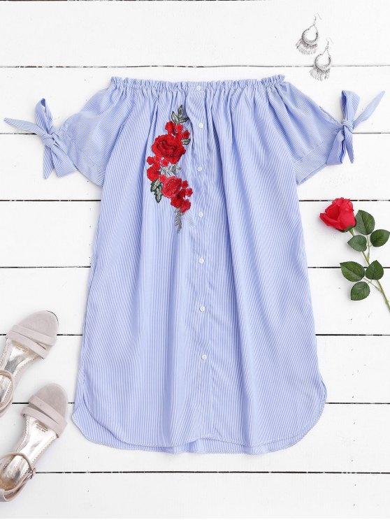 Vestido Casual Fuera del Hombro con Parche Floral - Raya M