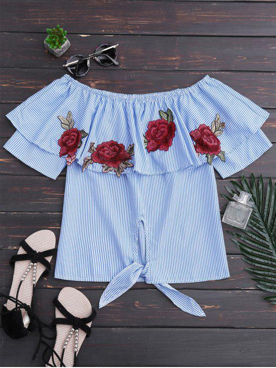 shop Off Shoulder Striped Knot Hem Floral Top - BLUE STRIPE M