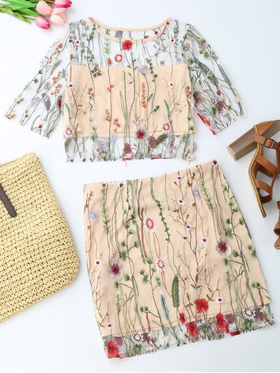 best Floral Embroidered See Through Top and A-Line Mini Skirt - FLORAL S