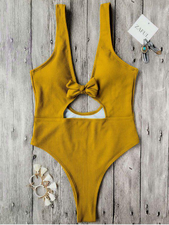 online Bowknot Textured High Cut One Piece Swimsuit - MUSTARD L