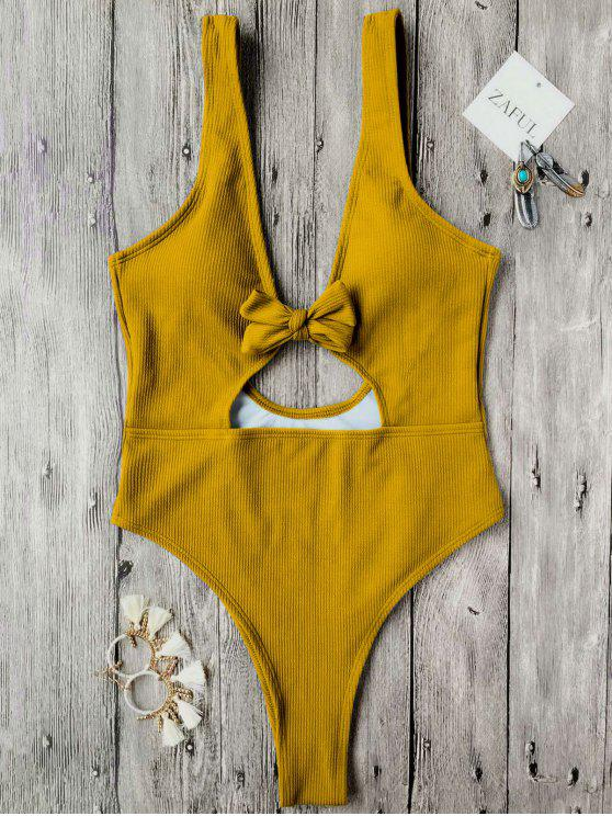 new Bowknot Textured High Cut One Piece Swimsuit - MUSTARD M