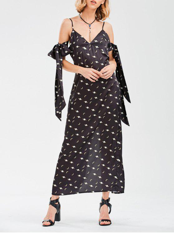 fancy Cami Slit Moon Dress With Arm Tie - BLACK XL