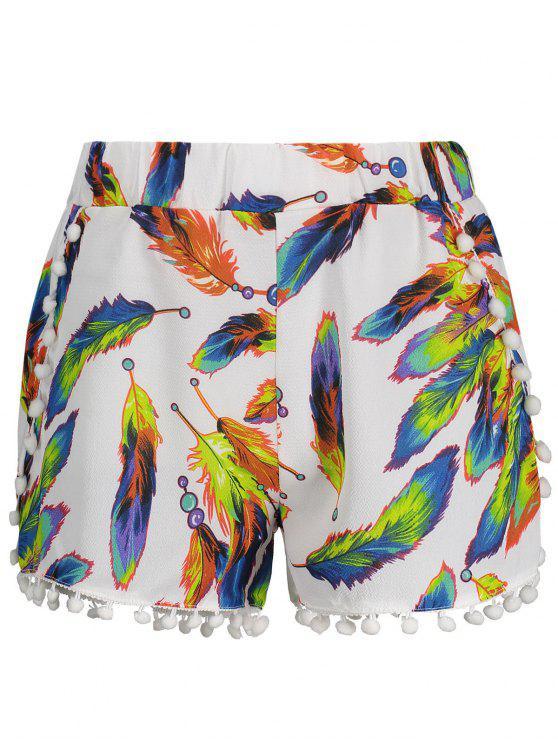 19% OFF  2019 High Waist Leaves Print Tassels Shorts In WHITE M  827926644be