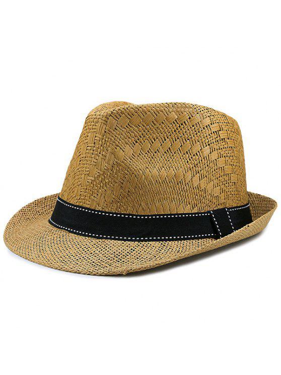 الشريط مزين سونبروف قبعة سترو المنسوجة - قهوة