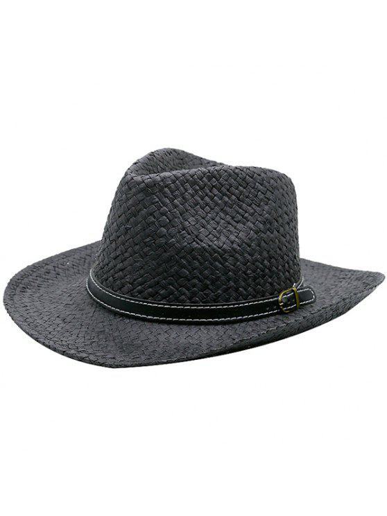 انفصال فو الجلود حزام المنسوجة قبعة سترو - أسود