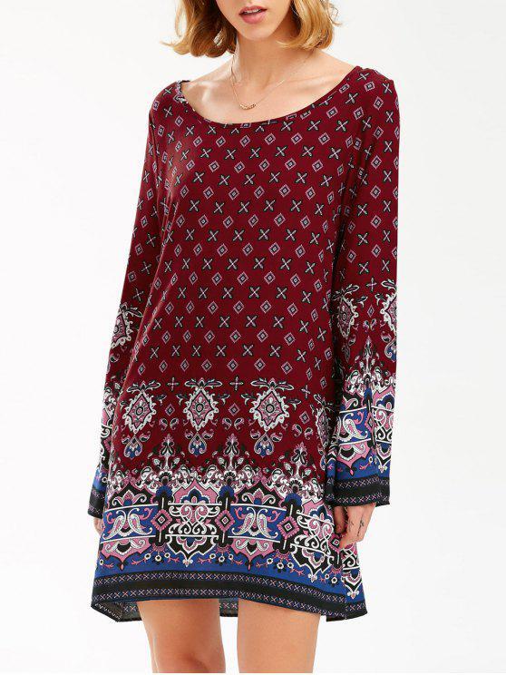 مطرزة طويلة الأكمام بوهيمية طباعة اللباس تونك - عنابي اللون L
