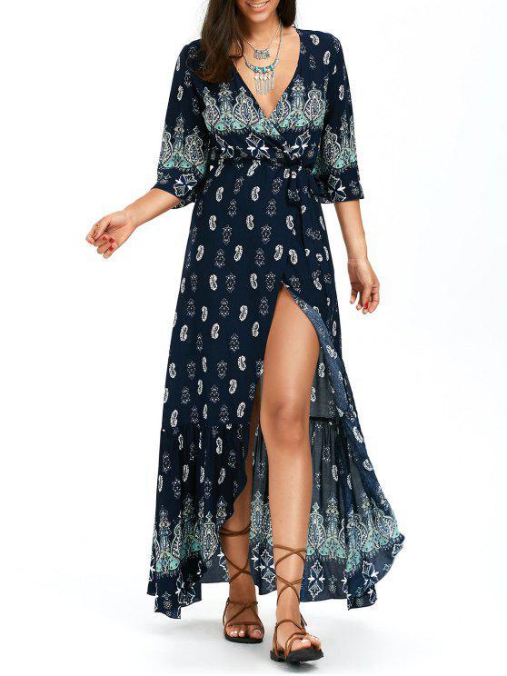 فستان ماكسي طباعة بوهيمي غير متماثل لف - الأرجواني الأزرق L