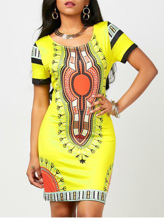 buy Dashiki Print Short Bodycon Dress (Random Print) - YELLOW S