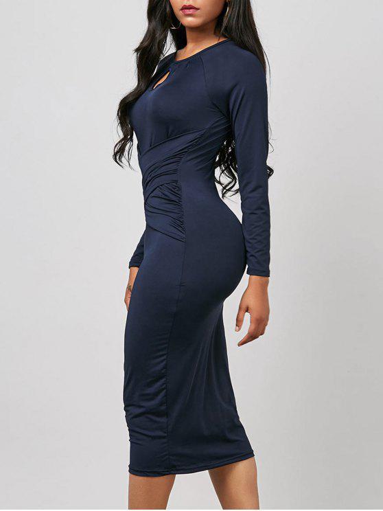 فستان ثقب المفتاح ميدي مطوي طويلة الأكمام ضيق - الأرجواني الأزرق XL