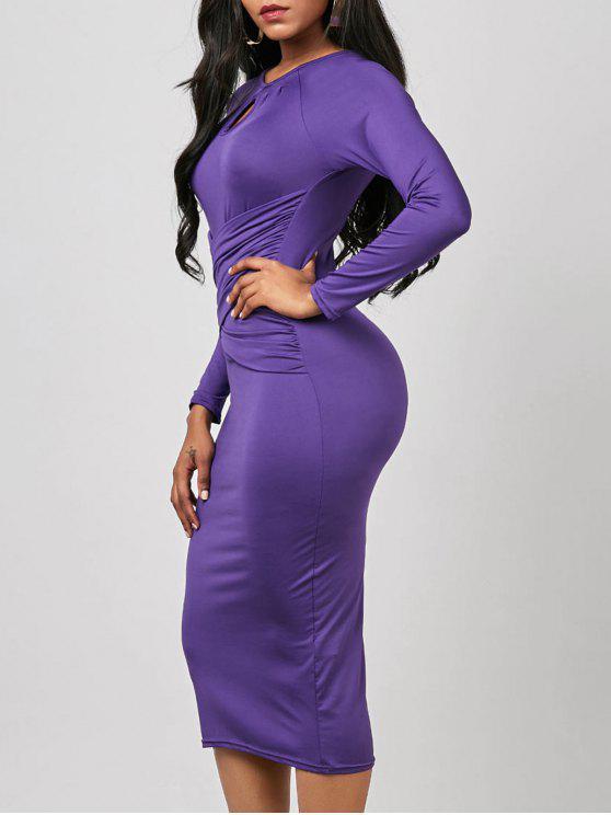 فستان ثقب المفتاح ميدي مطوي طويلة الأكمام ضيق - أرجواني XL