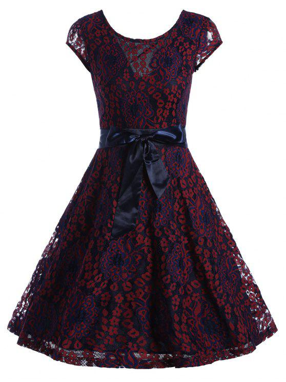 فستان متزلج دانتيل قصيرة الأكمام مربوط - نبيذ أحمر S