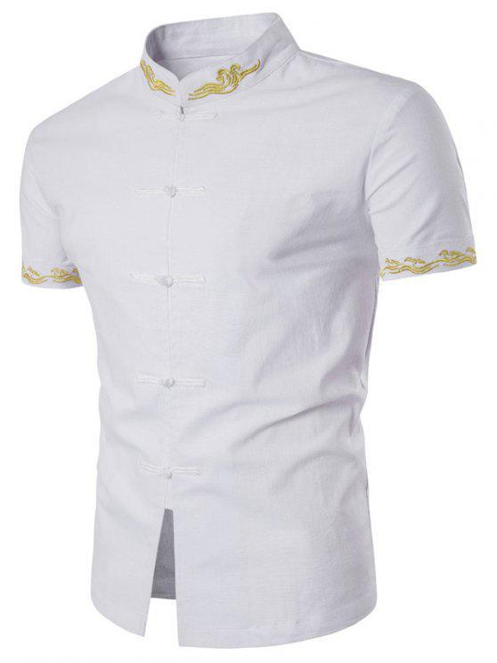 ماندارين طوق الأزهار المطرزة قصيرة الأكمام قميص - أبيض XL