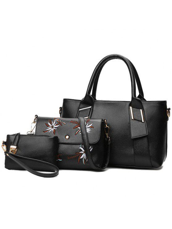 3 قطع مجموعة حقائب اليد بجلد اصطناعي - أسود