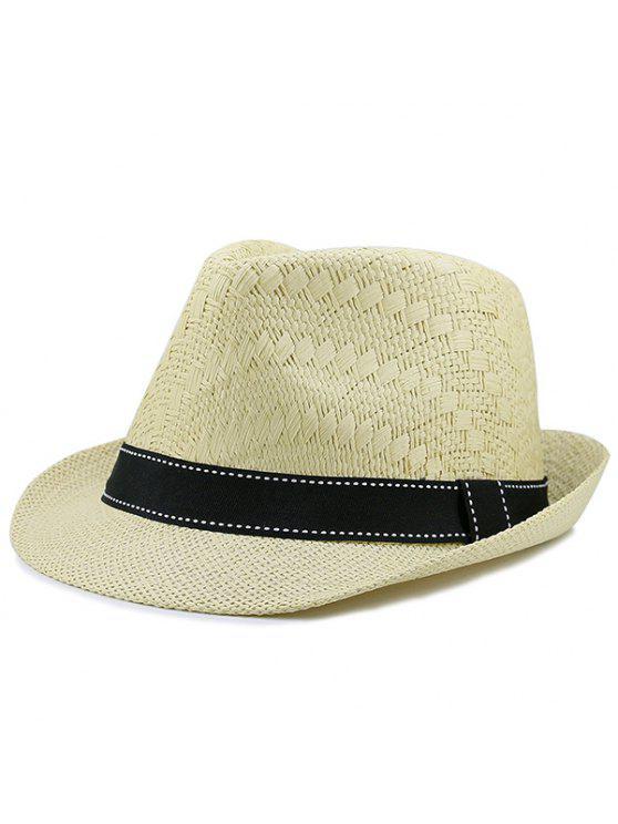 الشريط مزين سونبروف قبعة سترو المنسوجة - ضوء الكاكي