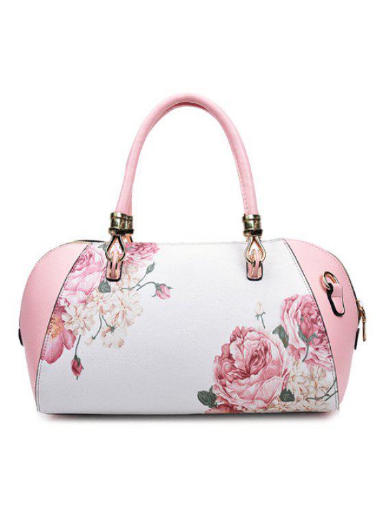 فو الجلود زهرة رسمت حمل حقيبة - زهري