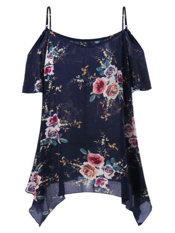 ladies Plus Size Dew Shoulder Tiny Floral Blouse - BLACK BLUE 2XL