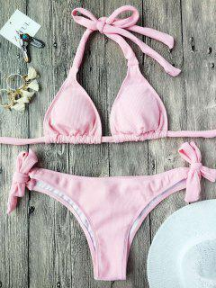 Self Tie Rib Texture Padded Bikini Set - Pink S