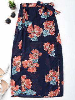 Falda De Gasa Con Flecos Florales - Azul Purpúreo L