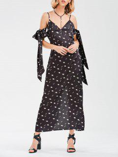 Cami Slit Robe De Lune Avec Cravate De Bras - Noir Xl