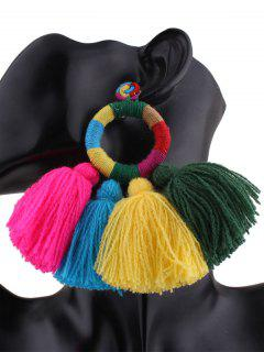 Ethnic Round Tassels Drop Earrings - Multicolor