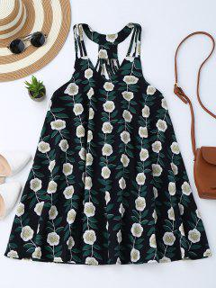 Floral Sleeveless Strappy Back Trapeze Dress - Floral M