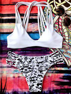 Sprinkle Print Strappy Bralette Bikini Set - White And Black L