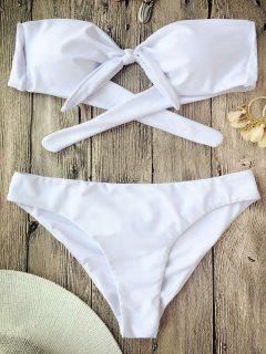 Ruched Knotted Bandeau Bikini Set - White M