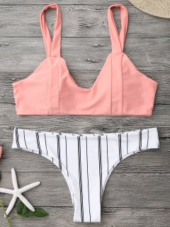 Padded Striped Bralette Bikini Set - Orangepink L