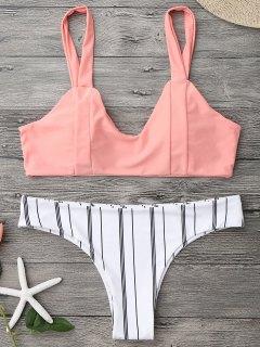 Padded Striped Bralette Bikini Set - Orangepink S