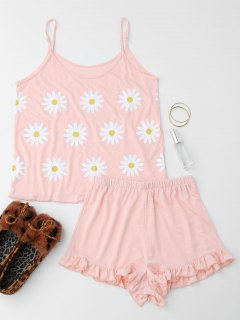 Cute Sun Flower Cami Ruffled Loungewear Suit - Shallow Pink S