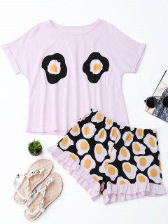 Fried Egg Print T-Shirt With Shorts Loungewear - Pink S